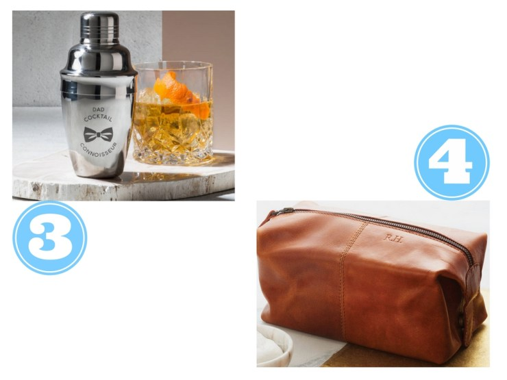 cocktail tumbler and leather travel bag
