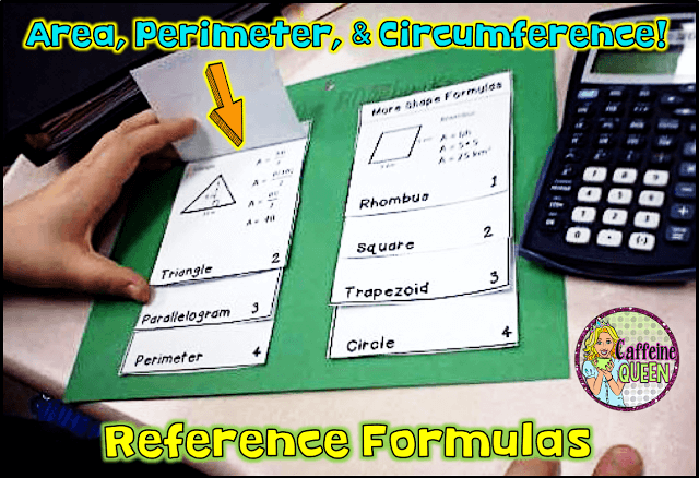 student reference formula foldable - quick and easy to use!