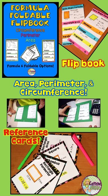 Area, Perimeter, and Circumference Foldable Formula Reference booklet and cards for students