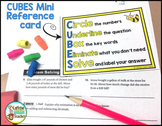 CUBES math word problems mini reference cards for students