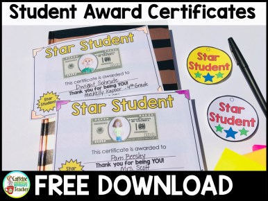 End of the school year student award ceremony with FREE certificates and badges!