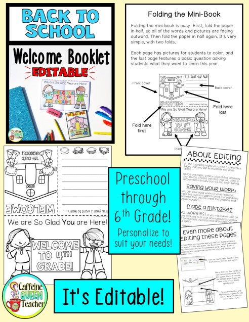 Show your students how you feel about them with this Welcome Back to School booklet