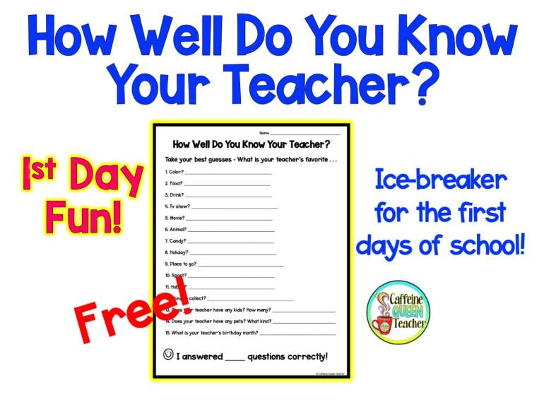 Free ICEBREAKER for the first days of school - students guess their teacher's favorite things!