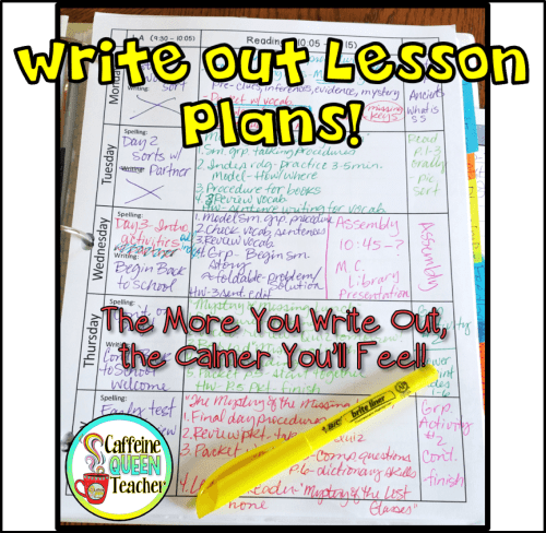 photo of teacher's lesson plan book