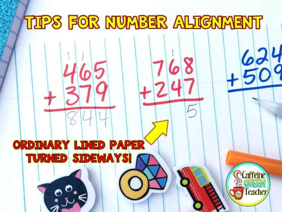 Lined paper for number alignment - graph paper is a great accommodation and intervention for students. Improves writing which leads to improved math skills and arithmetic skills - also neater handwriting and penmanship!