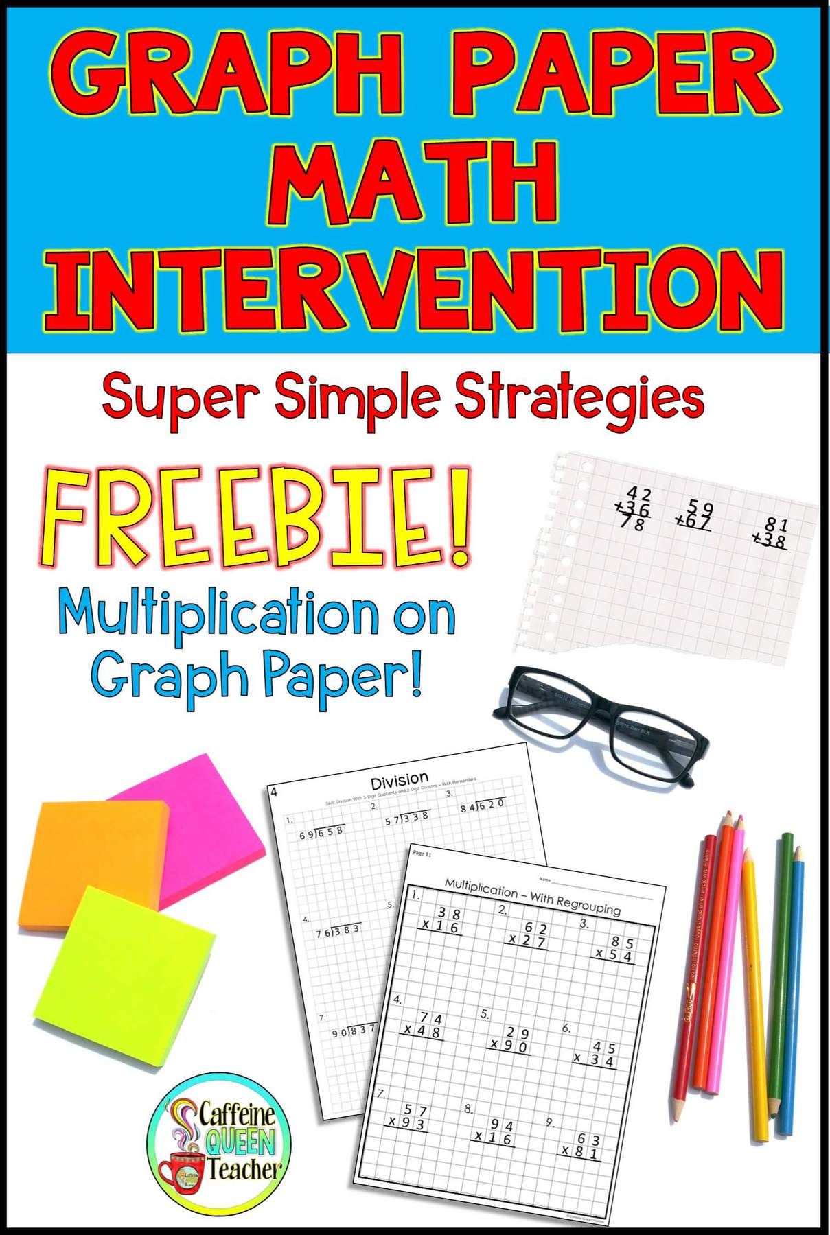 photograph about Cubes Math Strategy Printable titled Graph Paper Math Intervention - Caffeine Queen Trainer