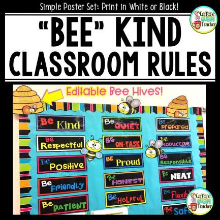 Simple Classroom Rules bulletin board display kit for elementary classrooms - Bee Kind!
