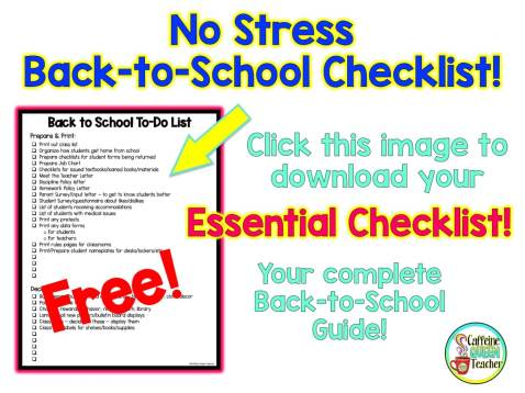 Download this FREE No Stress Back to School Checklist from Caffeine Queen Teacher