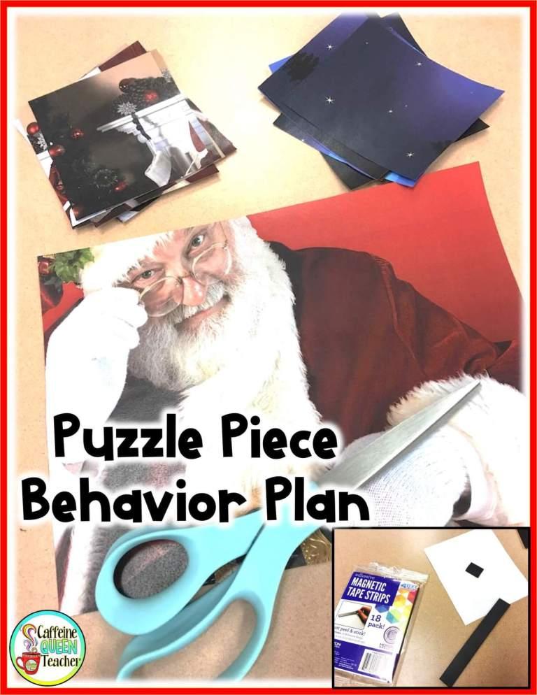 Photo cut into puzzle pieces can make a motivational behavior plan