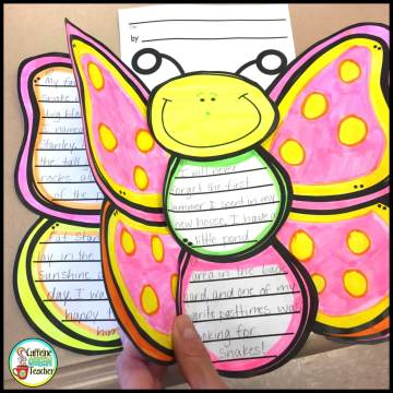 Butterfly writing project for spring with a student's personal narrative written on it