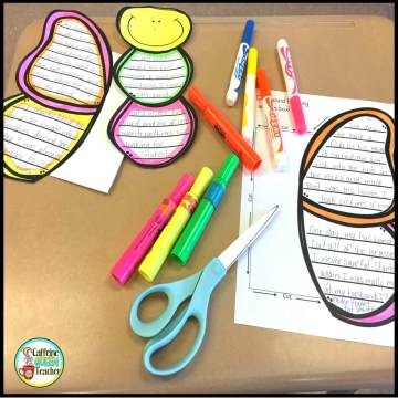 Butterfly essay and story writing craft activity being colored by markers and put together