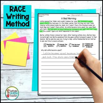 image of student using the RACE method to answer a text-based question during class