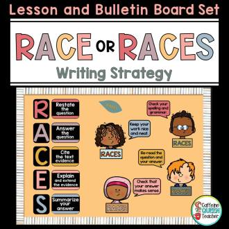 RACE or RACES writing strategy lesson and bulletin board set cover from Teachers Pay Teachers