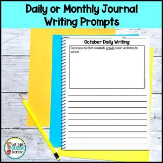 Picture of daily writing prompt page with space for writing and drawing a picture