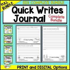 daily writing journal with digital and printable options for students