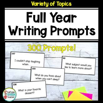 Full Year of writing prompts resource cover with 300 prompts included