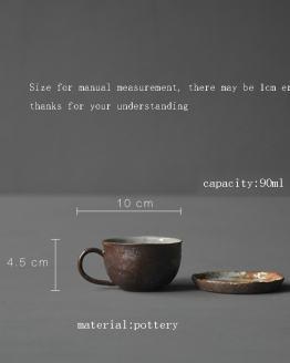 Ceramic Coarse Pottery Coffee Mug Espresso Coffee Cup and Saucer Vintage