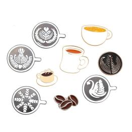 Coffee Badge Couple Espresso Glaze Tea Cup Drop Oil Brooch Mini Coffee Cafe Gift