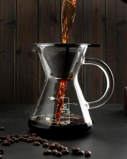 Pour Over Manual Drip Coffee Maker With Fine Mesh Steel Filter