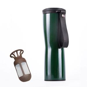 Travel Mug Coffee Tumbler Vacuum Bottle Touch Temperature Display Gray Green