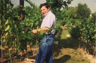 1992: Fausto Malinverno nella vigna del Caffè La Crepa