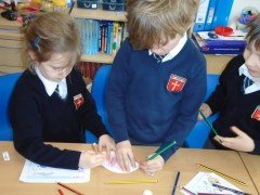 Colouring in fish at St Bede's
