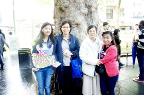 CAFOD volunteers Anne (far left) and Alana (far right) with attendees at Spirit in the City