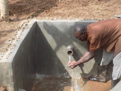Completed protected water spring in Sironko district