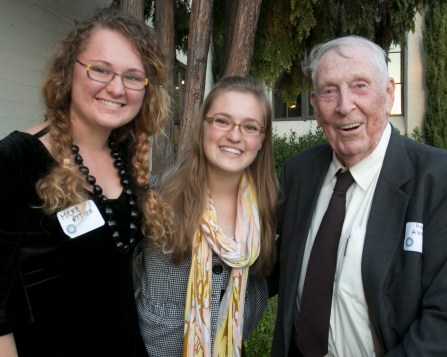 Hank Abraham poses with some forestry students.