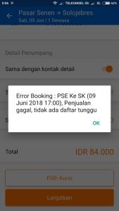 Error saat akan konfirmasi pemesanan