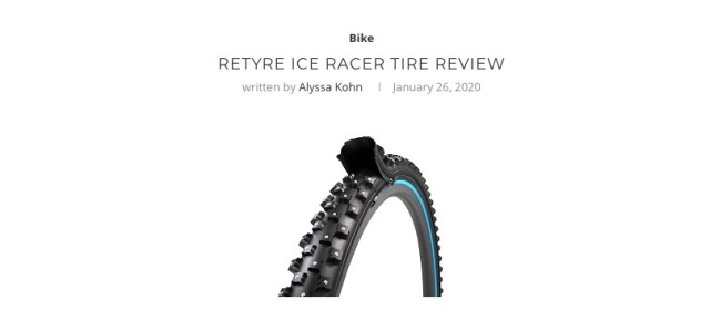 A clickable image which links to a review of the reTyre Ice Racer tire review.