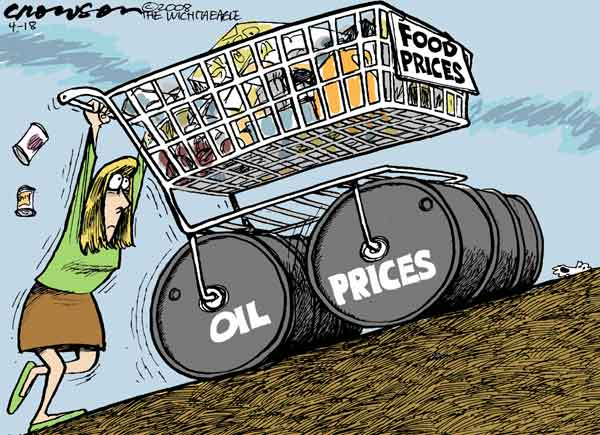 Why is the US consumer not getting low food prices? What stops these food corporations from delivering low prices to consumers and high prices to farmers in the USA?  |  Cartoo by Richard Crowson; 18th April 2008;  source and courtesy - cagle.com  |  Click for larger image size.