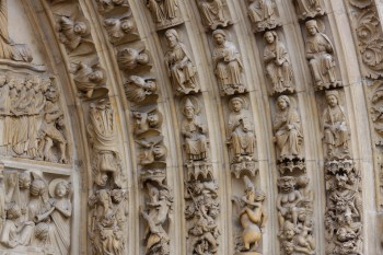 Carvings above the Notre Dame doors