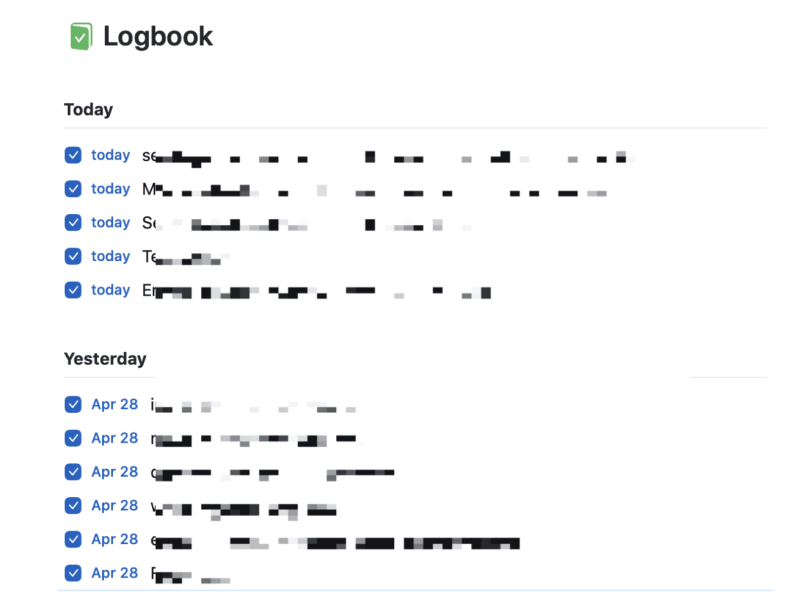 Things logbook