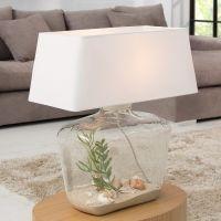 Tischlampe VIDA Weiß mit befüllbarem Glasfuß 50cm Höhe