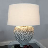 Tischlampe BIJOU Weiß mit Leinenschirm aus Keramik handgefertigt 55cm Höhe