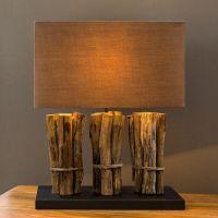 Tischlampe WARU Braun aus Treibholz handgefertigt 50cm Höhe