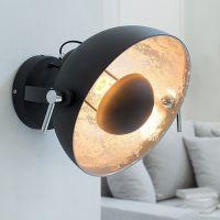 Wandlampe SPOT Schwarz-Silber 30cm Ø verstellbar