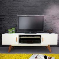 Retro TV-Tisch GÖTEBORG Weiß-Eiche 120cm im skandinavischen Stil