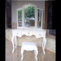 Mahagoni Frisiertisch POMPADOUR Weiß inkl. 3er Spiegel & Hocker 110cm