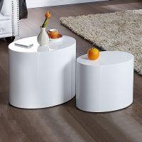 2er Set Beistelltische LOTUS Weiß Hochglanz Oval 50/40cm