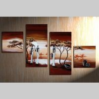 4 Leinwandbilder AFRIKA Frau (2) 80 x 50cm Handgemalt