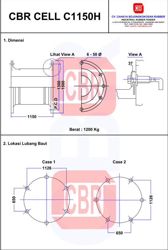 pengaplikasian cell rubber fender 1150H