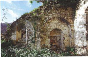 Cahiers de la Haute-Loire. Année 2011. Chapelle Saint-Pierre de Bilhac, détail des vestiges du mur sud.