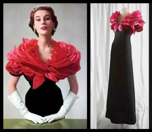 "Givenchy 1952 ""Boléro inspiré de la rose"" Evening Gown, Photo Philippe Pottier"