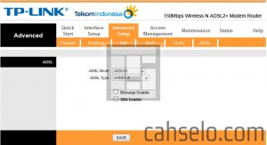 set adsl mode dan type