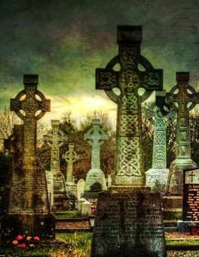 Celtic cross graveyard in Ireland Animism