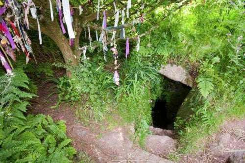 Clouties hung near Sancreed Well at Sancreed in Cornwall