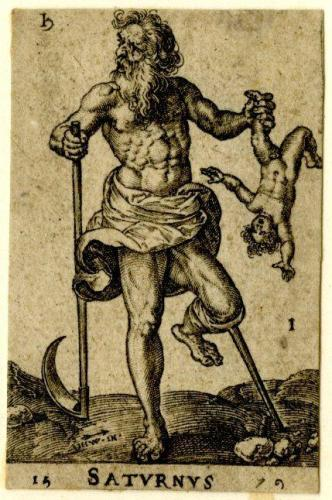 Image of Saturn as a man Holding  baby with a wooden leg representing disability. Disability and Scottish folk magic