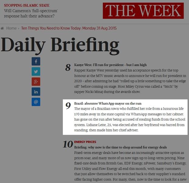 Em nota, The Week britânica comenta suspeita de corrupção no Maranhão